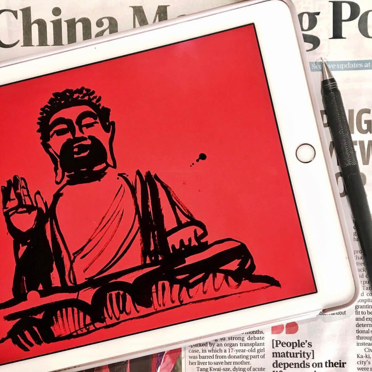 Caroline Tomlinson, Sketch Book, Buddha Hong Kong